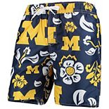 Men's Wes & Willy Navy Michigan Wolverines Floral Volley Swim Trunks