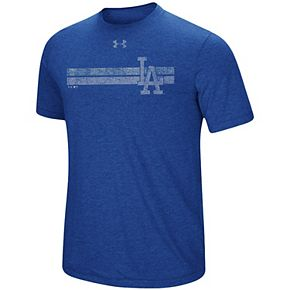 Men's Under Armour Heathered Royal Los Angeles Dodgers Stripe Logo Tri-Blend T-Shirt