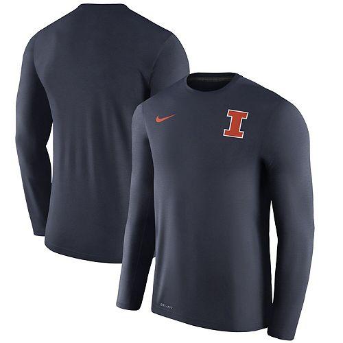 Men's Nike Heathered Navy Illinois Fighting Illini 2017 Coaches Touch Long Sleeve Performance T-Shirt