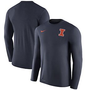 Men's Nike Heathered Navy Illinois Fighting Illini 2017 Coaches Touch Long Sleeve Performance T-Shirt