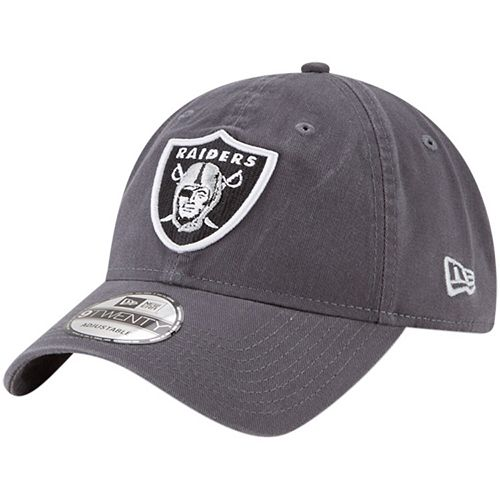 Men's New Era Oakland Raiders Graphite Core Classic Team Logo 9TWENTY Adjustable Hat
