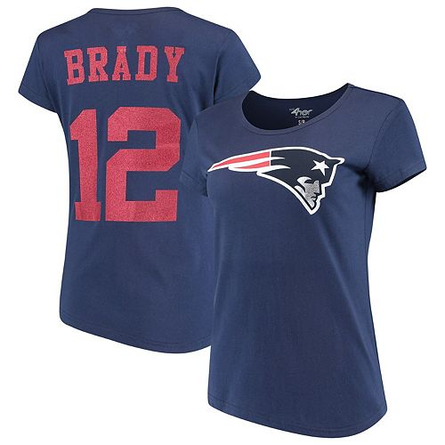 Women's G-III 4Her by Carl Banks Tom Brady Navy New England Patriots Glitter Endzone Player Name & Number T-Shirt