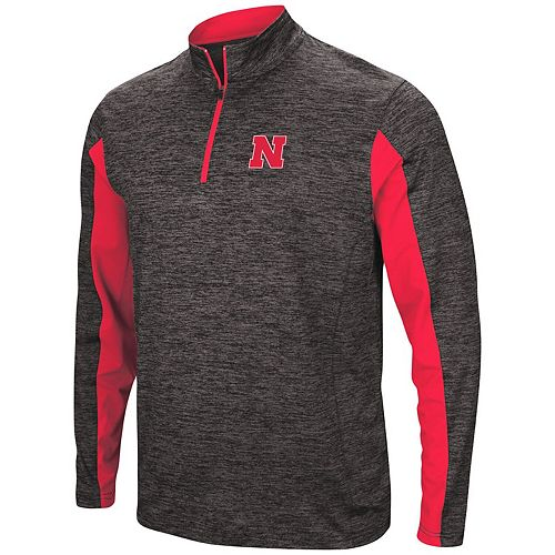 Men's Colosseum Heathered Black Nebraska Cornhuskers Astroturf 1/4-Zip Windshirt