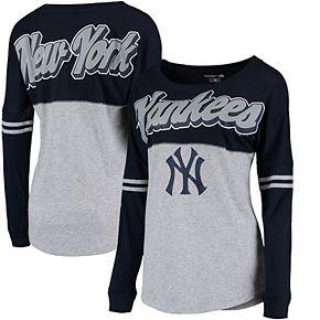 Women's 5th & Ocean by New Era Heathered Gray New York Yankees MLB Baby Jersey Varsity Crew Boyfriend Long Sleeve T-Shirt