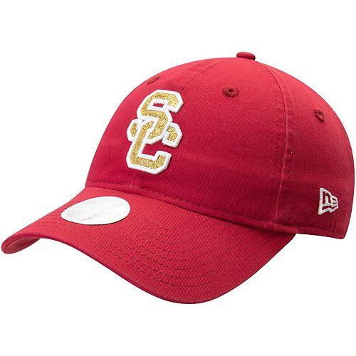 Women's New Era Cardinal USC Trojans Primary Team Glisten 9TWENTY Adjustable Hat