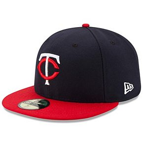 Men's New Era Navy/Red Minnesota Twins Road Authentic Collection On-Field 59FIFTY Fitted Hat