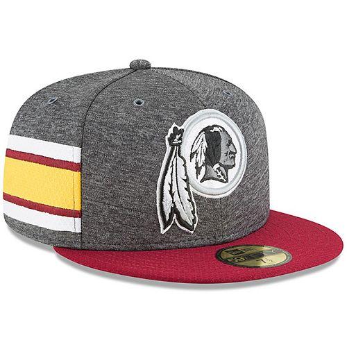 Men's New Era Heather Gray/Burgundy Washington Redskins 2018 NFL Sideline Home Graphite 59FIFTY Fitted Hat