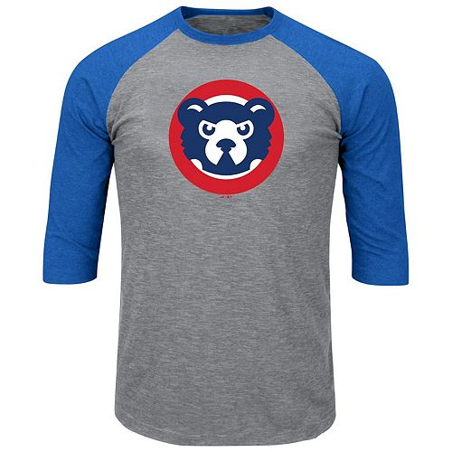 Men's Majestic Heathered Gray/Royal Chicago Cubs Big & Tall Cooperstown Collection 3/4-Sleeve Raglan T-Shirt