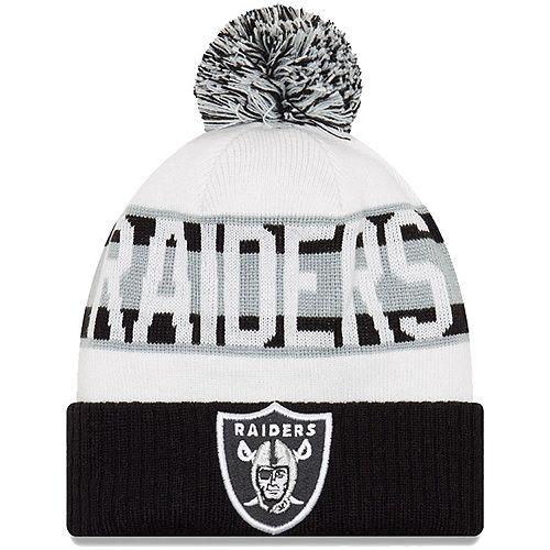 Youth New Era White/Black Oakland Raiders Retro Cuffed Knit Hat With Pom