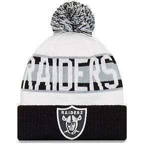Youth New Era White/Black Oakland Raiders Retro Cuffed Knit Hat With Pom