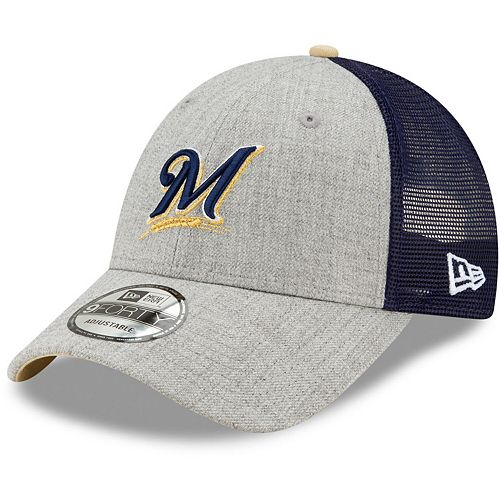 Men's New Era Heathered Gray/Navy Milwaukee Brewers Turn Trucker 9FORTY Adjustable Snapback Hat