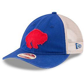 Men's New Era Royal/White Buffalo Bills Frayed Twill 9TWENTY Adjustable Hat