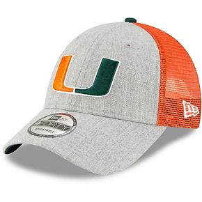 Men's New Era Heathered Gray/Green Miami Hurricanes Turn 9FORTY Adjustable Snapback Hat