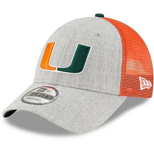 Men's New Era Heathered Gray/Green Miami Hurricanes Turn 9FORTY Adjustable Snapback Hat