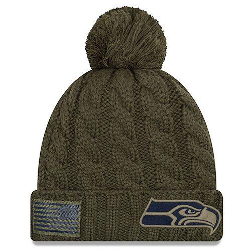 Women's New Era Olive Seattle Seahawks 2018 Salute to Service Sideline Cuffed Pom Knit Hat