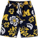 Preschool Wes & Willy Navy Michigan Wolverines Floral Swim Trunks