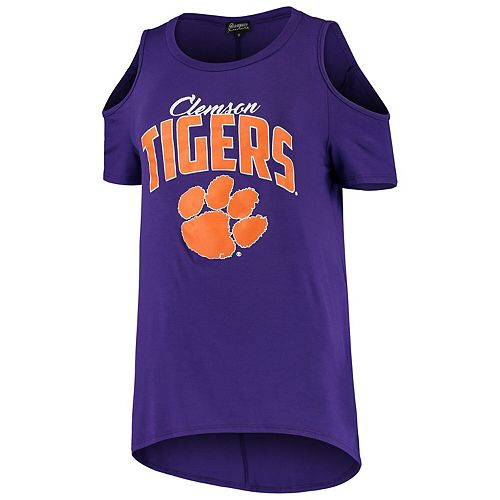 Women's Purple Clemson Tigers Gameday Cold Shoulder Flowy Top