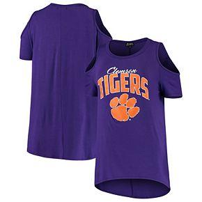 Women's Purple Clemson Tigers Gameday Cold Shoulder Flowy Top