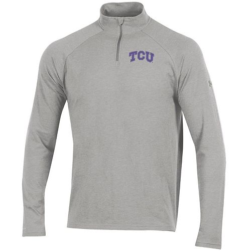 Men's Under Armour Heathered Gray TCU Horned Frogs Charged Cotton Quarter-Zip Jacket