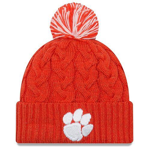 Women's New Era Orange Clemson Tigers Cozy Cable Cuffed Knit Hat With Pom