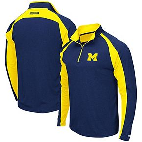 Men's Colosseum Heathered Navy Michigan Wolverines The J. Peterman Quarter-Zip Pullover Jacket