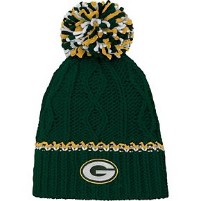 Girls Youth Green Green Bay Packers Team Color Cable Knit Beanie