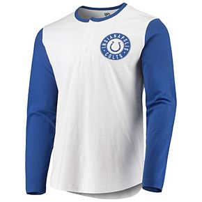 Men's G-III Sports by Carl Banks White/Royal Indianapolis Colts Tradition Henley Long Sleeve T-Shirt