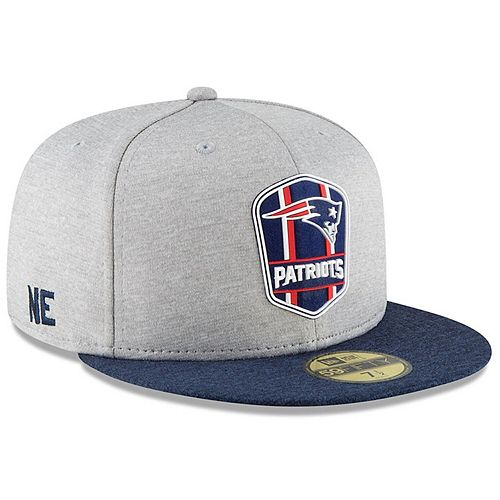 Men's New Era Heather Gray/Navy New England Patriots 2018 NFL Sideline Road Official 59FIFTY Fitted Hat