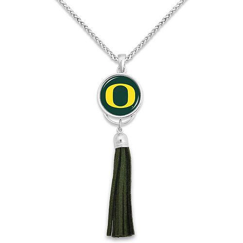 Women's Oregon Ducks Suede Tassel Statement Necklace