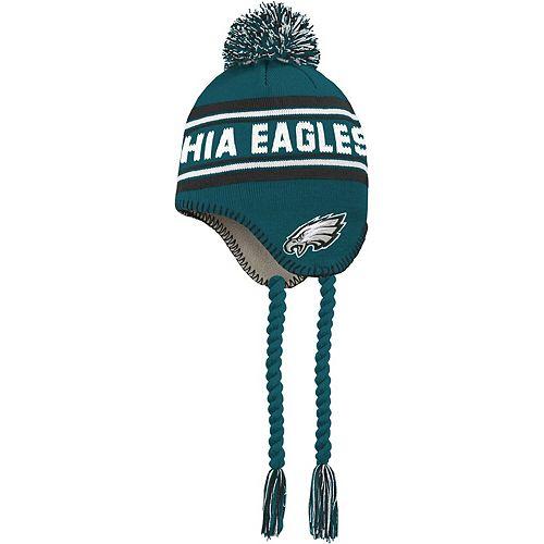 Toddler Midnight Green/Black Philadelphia Eagles Jacquard Tassel Knit Hat with Pom