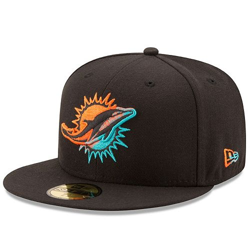 Men's New Era Black Miami Dolphins Color Dim 59FIFTY Fitted Hat