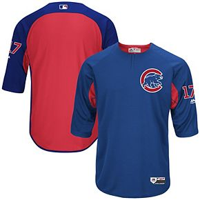 Men's Majestic Kris Bryant Royal Chicago Cubs Authentic Collection On-Field 3/4-Sleeve Player Batting Practice Jersey