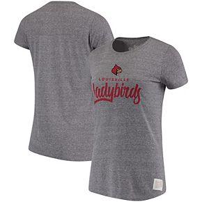 Women's Original Retro Brand Heathered Gray Louisville Cardinals Tri-Blend Crewneck T-Shirt