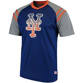 Men's Stitches Royal/Orange New York Mets V-Neck Mesh Jersey T-Shirt
