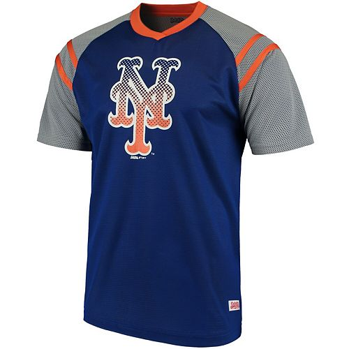 Men's Stitches Royal/Orange New York Mets V-Neck Mesh Jersey T-Shirt
