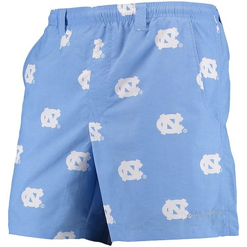 "Men's Columbia PFG Carolina Blue North Carolina Tar Heels Backcast II 6"" Omni-Shade Hybrid Shorts"