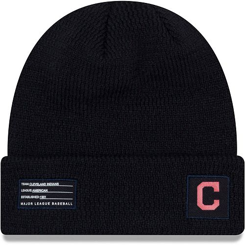 Youth New Era Navy Cleveland Indians On-Field Sport Cuffed Knit Hat