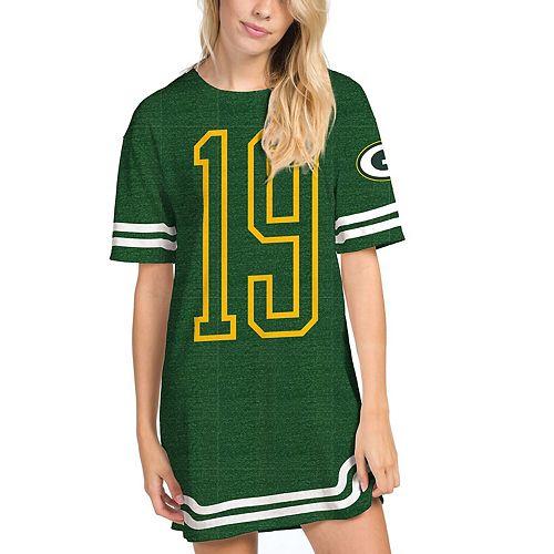 Women's Junk Food Heathered Green Green Bay Packers Varsity Stripe Tri-Blend Dress