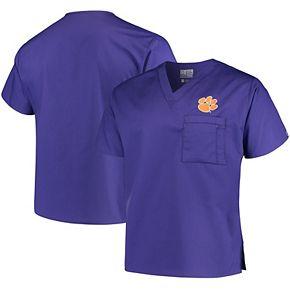 Purple Clemson Tigers V-Neck Scrub Top
