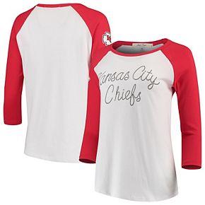 Women's Junk Food White/Red Kansas City Chiefs Retro Script Raglan 3/4-Sleeve T-Shirt