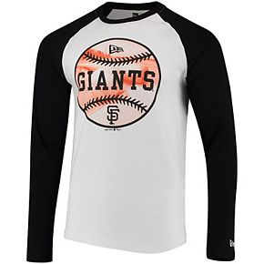 Men's New Era White/Black San Francisco Giants Raglan Long Sleeve T-Shirt