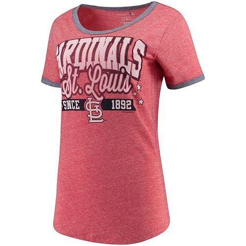 Women's 5th & Ocean by New Era Red/Navy St. Louis Cardinals Jersey Ringer Tri-Blend T-Shirt