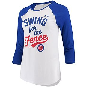 Women's Under Armour White/Royal Chicago Cubs Baseball 3/4-Sleeve T-Shirt