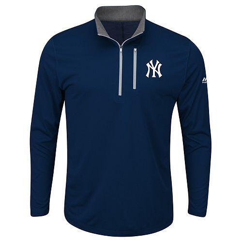 Men's Majestic Navy New York Yankees Big & Tall 643 Half-Zip Pullover Jacket