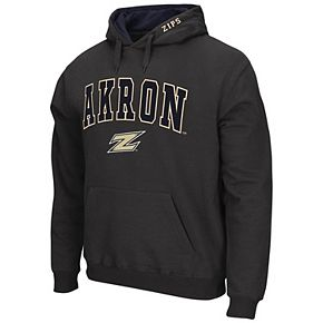 Men's Colosseum Charcoal Akron Zips Arch & Logo Pullover Hoodie