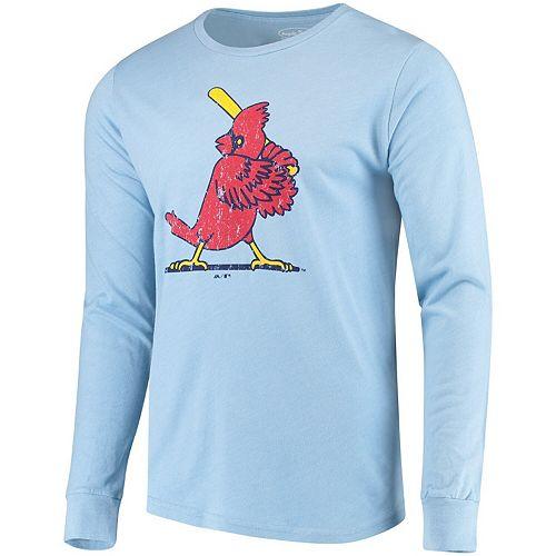 Men's Majestic Threads Heathered Light Blue St. Louis Cardinals Tri-Blend Long Sleeve T-Shirt