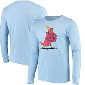 Men's Majestic Threads Heathered Light Blue St. Louis Cardinals Tri-Blend Long Sleeve T-Shirt