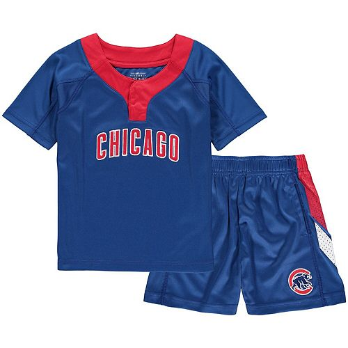 Toddler Royal/Red Chicago Cubs Ground Rules T-Shirt & Shorts Set