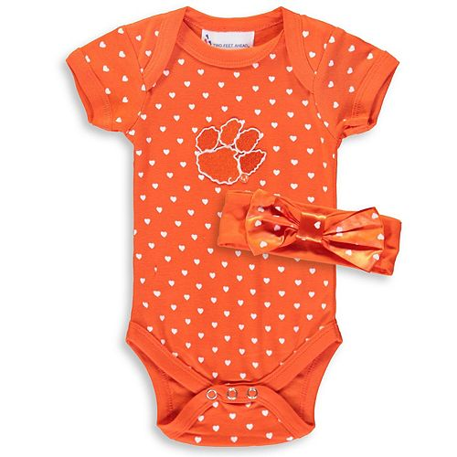 Girls Newborn & Infant Orange Clemson Tigers Hearts Bodysuit and Headband Set