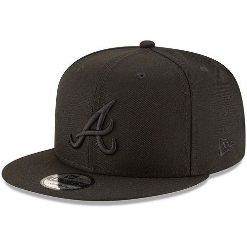 Atlanta Braves New Era Black on Black 9FIFTY Team Snapback Adjustable Hat - Black